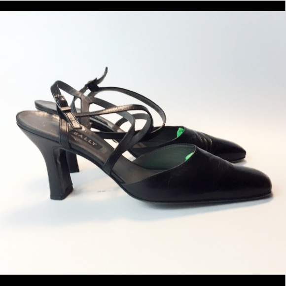 c89e62e16d7 Bally Black Leather Ankle Strap Heel Shoes